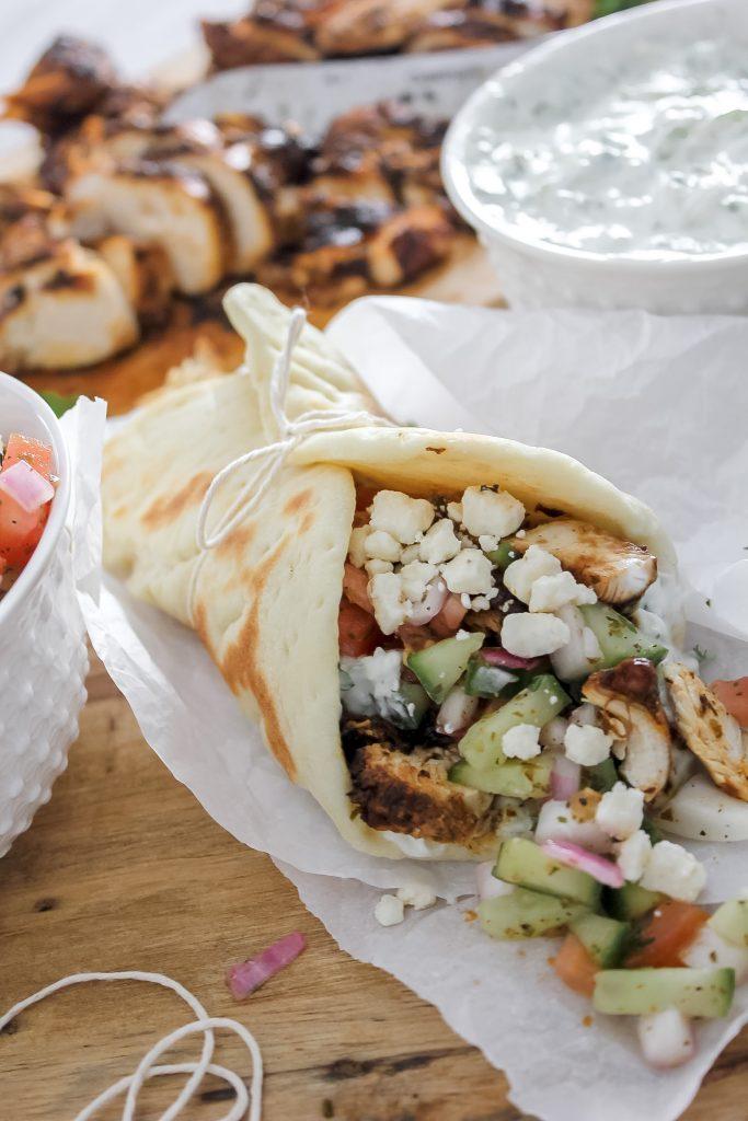 Chicken Gyros with Tzatziki & Homemade Pita