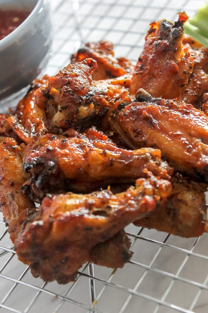 BBQ Sriracha Chicken Wings on Wire Rack
