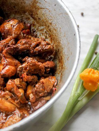 Jamaican Brown Stew Chicken in Dutch Pot