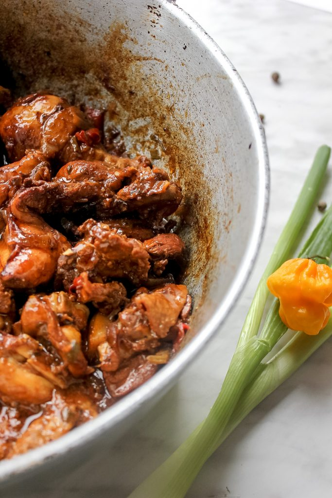 Jamaican Brown Stew Chicken in Dutch Pot