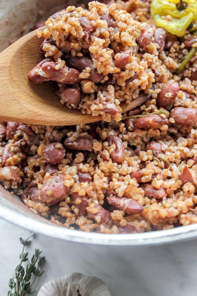 Vegan Jamaican Bulgur Wheat & Peas (Rice & Peas Remix)