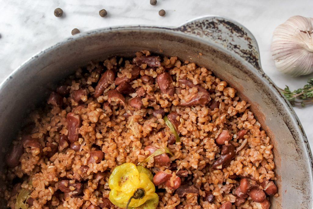 Vegan Jamaican Bulgur Wheat & Peas (Rice & Peas Remix) - Overhead View