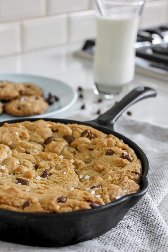 chocolate chip cookie in skillet