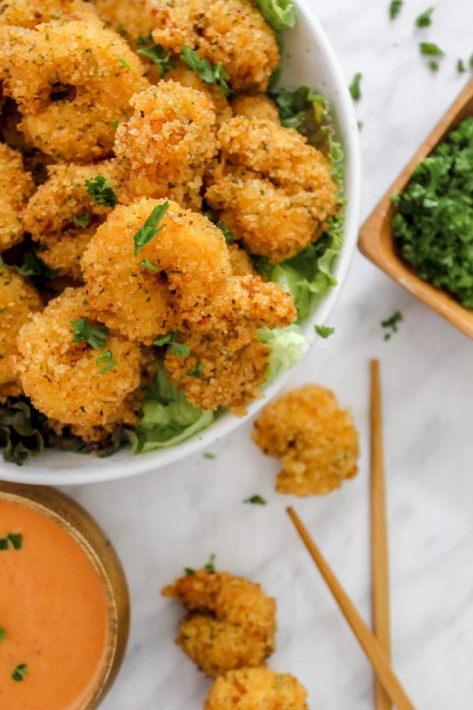 Bang Bang (KaPow) Shrimp in bowl a top lettuce