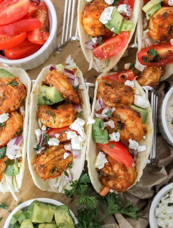 Easy Shrimp Tacos & Cilantro Lime Dressing