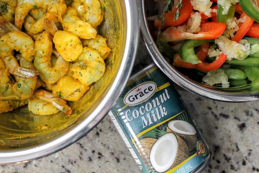 Jamaican Curry Shrimp Recipe Prep Shot