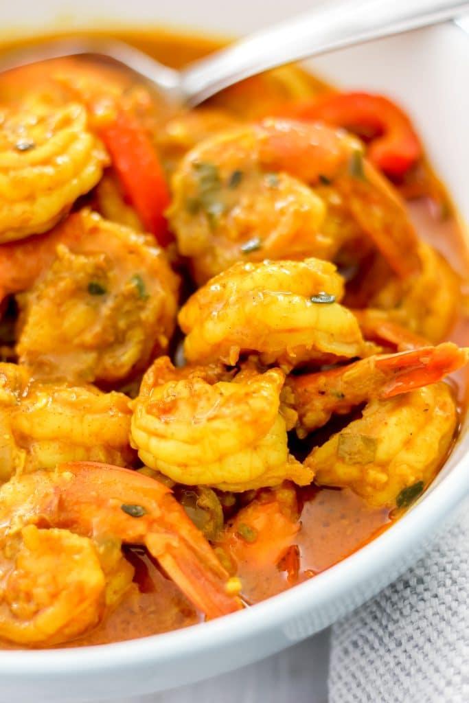 Jamaican Curry Shrimp (Seafood) Close-Up