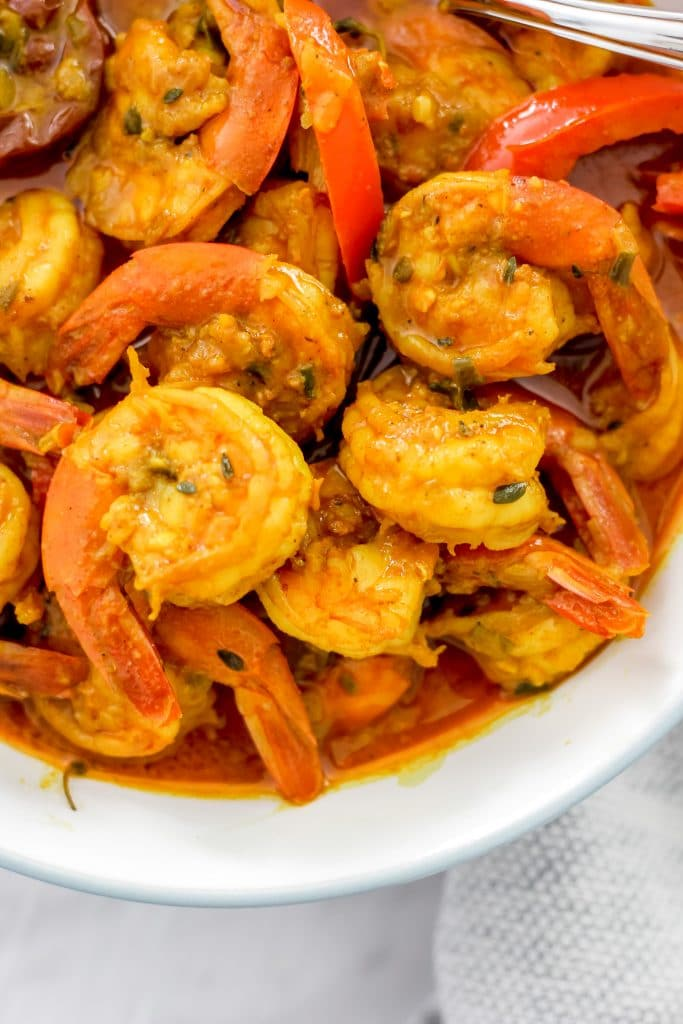 Jamaican Curry Shrimp (Seafood) Overhead Picture