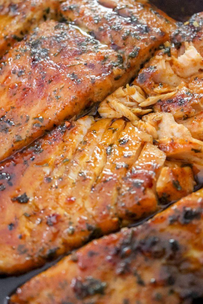 Honey Sriracha Glazed Salmon 3 Pieces in Skillet