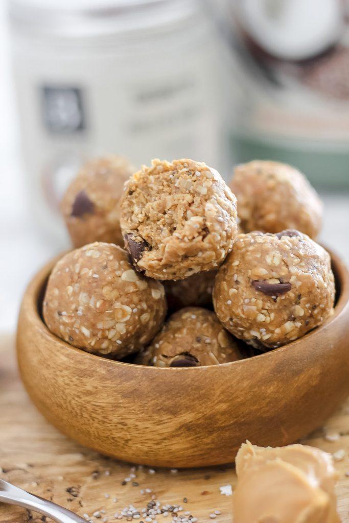 No Bake Vanilla Protein Balls in wooden bowl