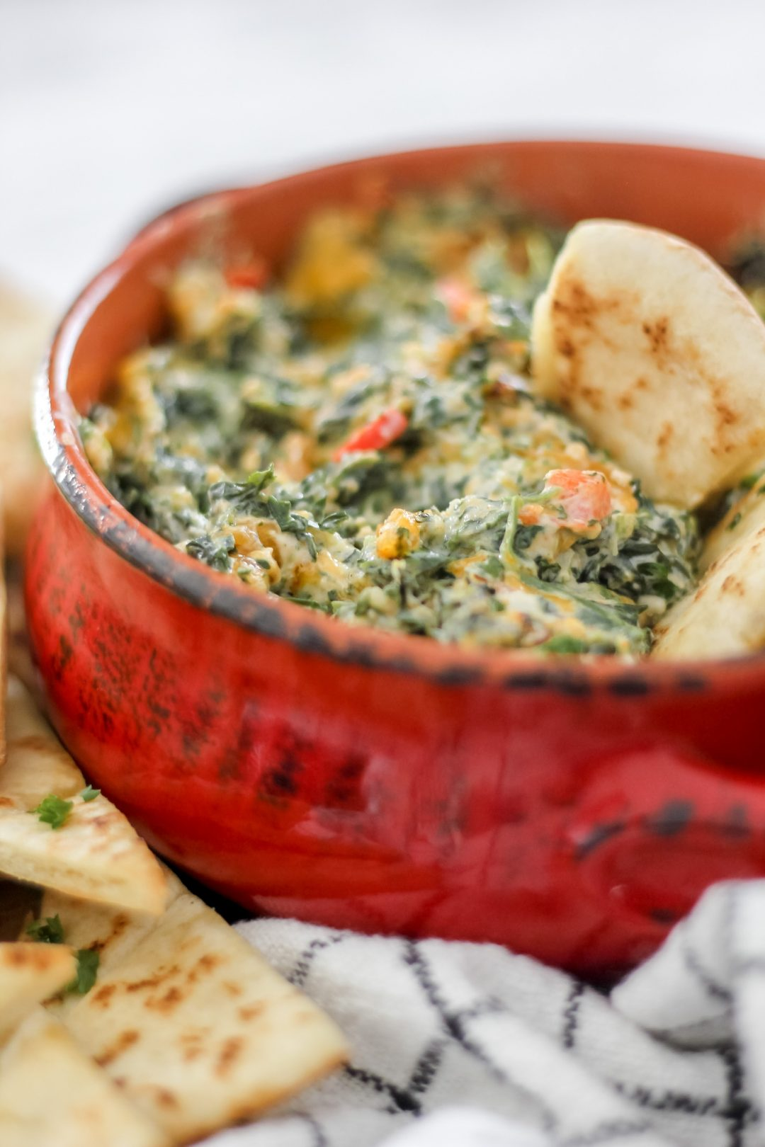 Spinach Dip in Red Bowl