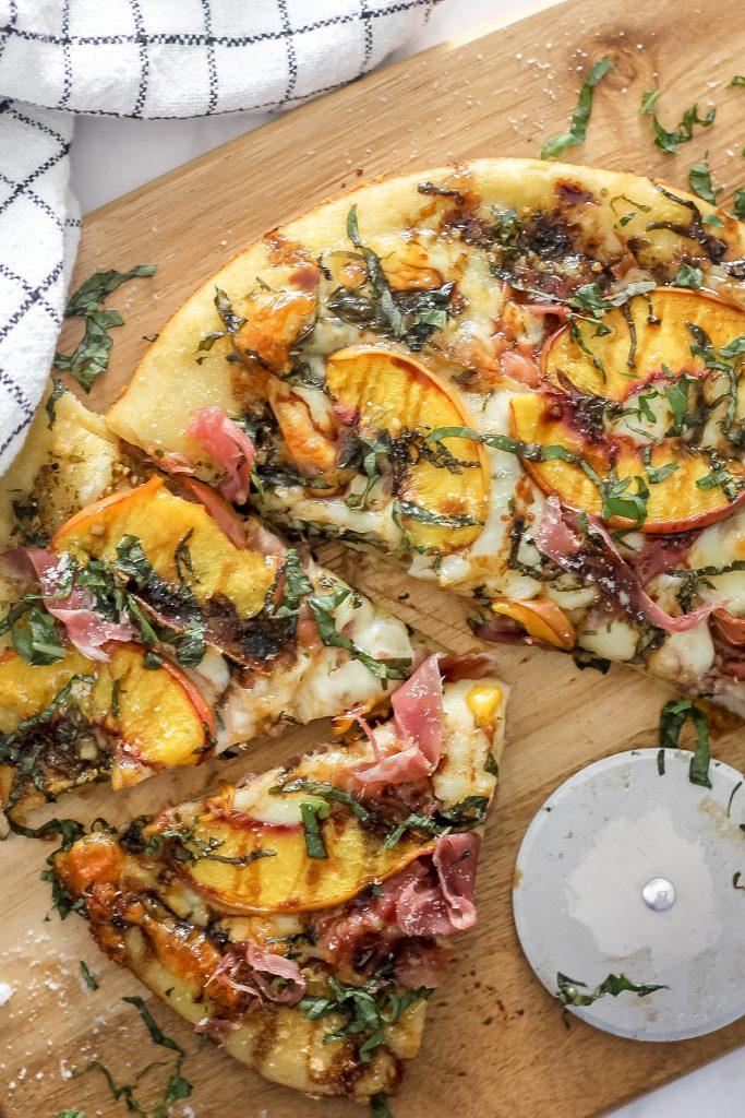 Summer Peach and Prosciutto Pizza with Balsamic Glaze Drizzle