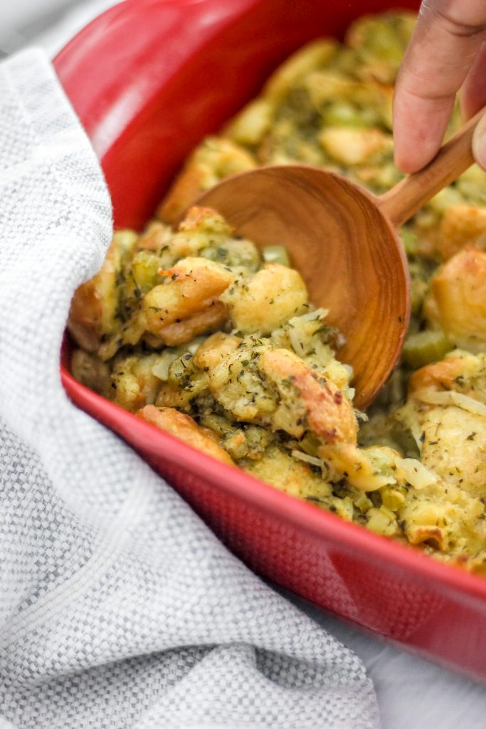 stuffing in a red casserole dish