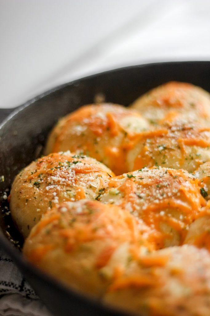 Cheesy Garlic Bread in Skillet