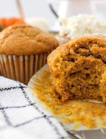 Moist Pumpkin Spice Muffin Half Eaten