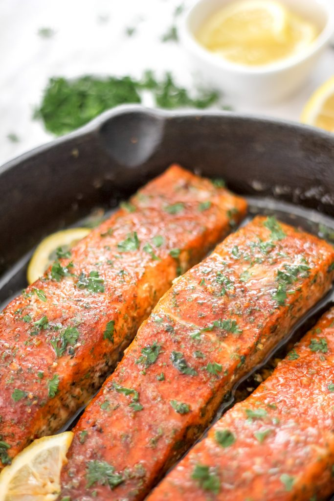 Cajun Salmon Pieces in Skillet with Lemon