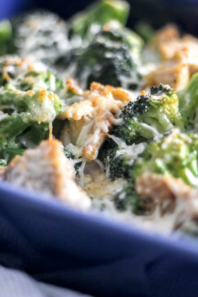 Keto Chicken Broccoli Alfredo Bake in Blue Serving Dish