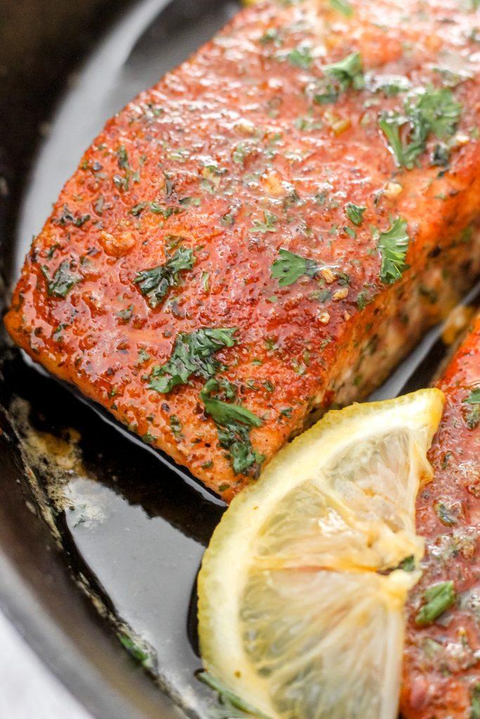 Honey Butter Salmon in Skillet