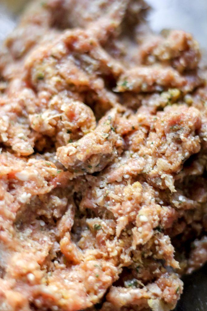 Italian Wedding Soup - Meatball Ingredients Combined