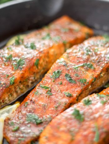 3 Cajun Honey Butter Salmon Fillets in Skillet