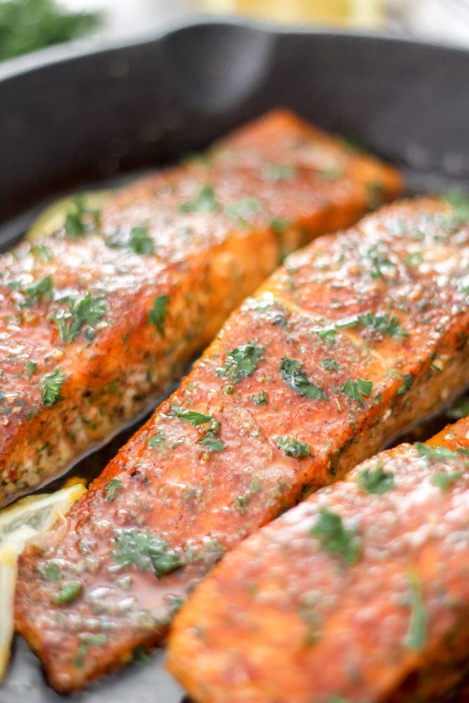 3 Cajun Honey Butter Salmon Fillets in Skillet