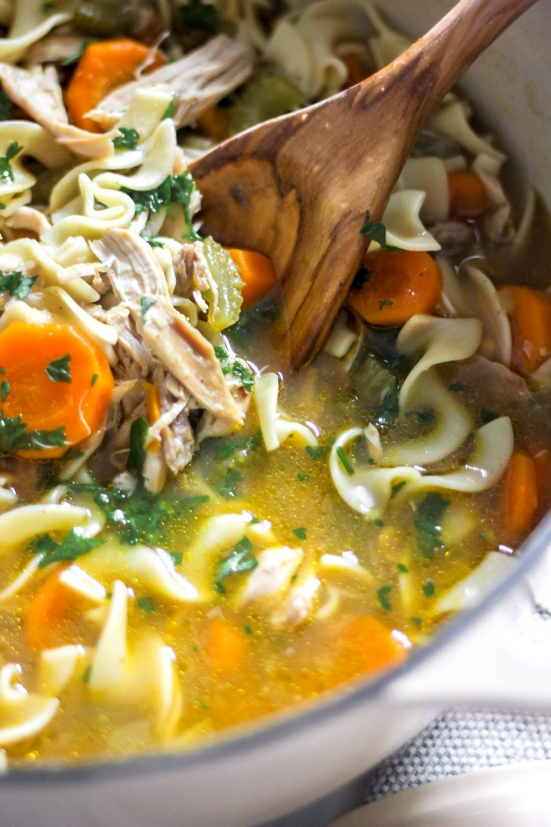 Classic Homestyle Chicken Noodle Soup in Large Pot