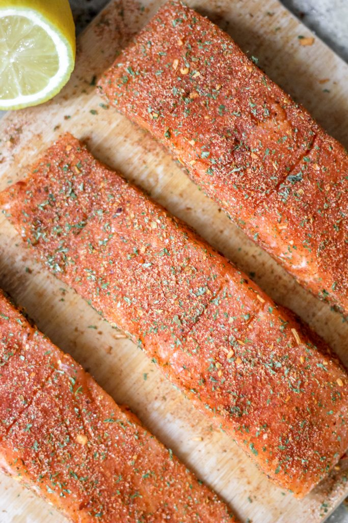 Seasoned Honey Butter Cajun Salmon on Wooden Cutting Board
