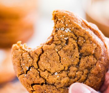 Soft & Chewy Ginger Molasses Cookies in hand
