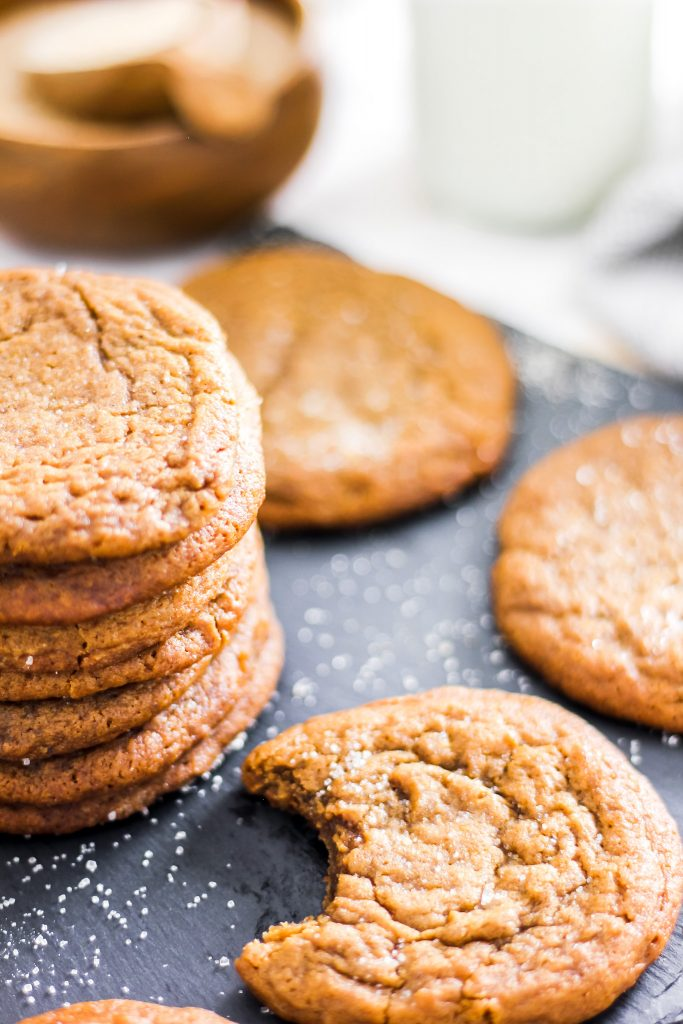 Ginger Molasses Cookies Stack and one biten
