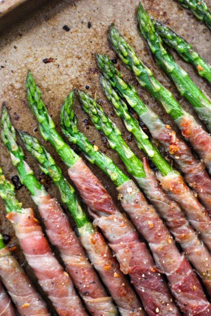 Prosciutto Wrapped Asparagus Tops on Tray