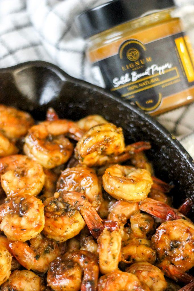 Scotch Bonnet Orange Glazed Shrimp in skillet