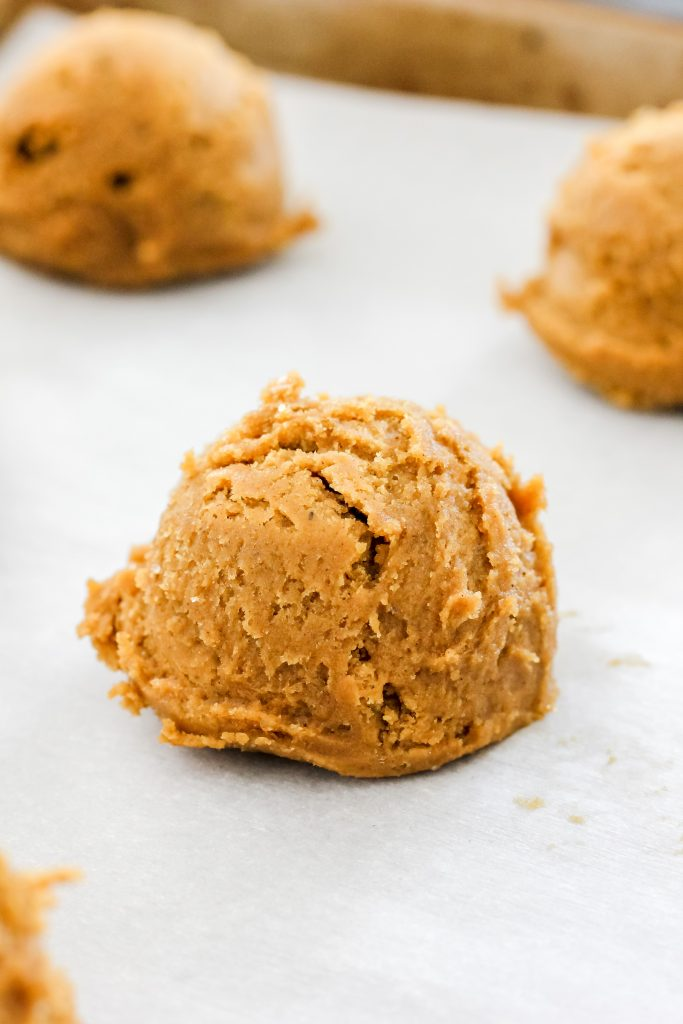 Single Cookie Dough on Baking Sheet