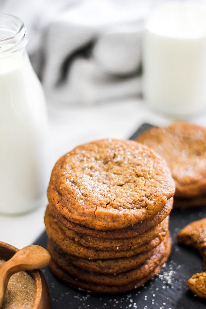 Ginger Molasses Cookies on Gray Slate