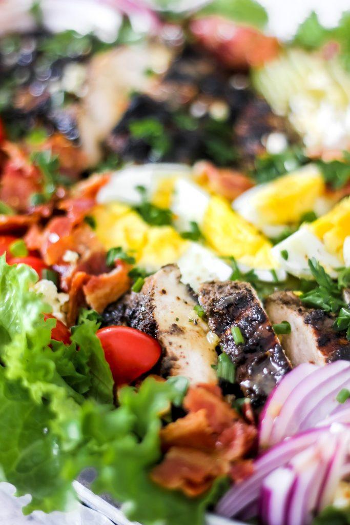 Jerk Chicken Cobb Salad with Honey Mustard Dressing