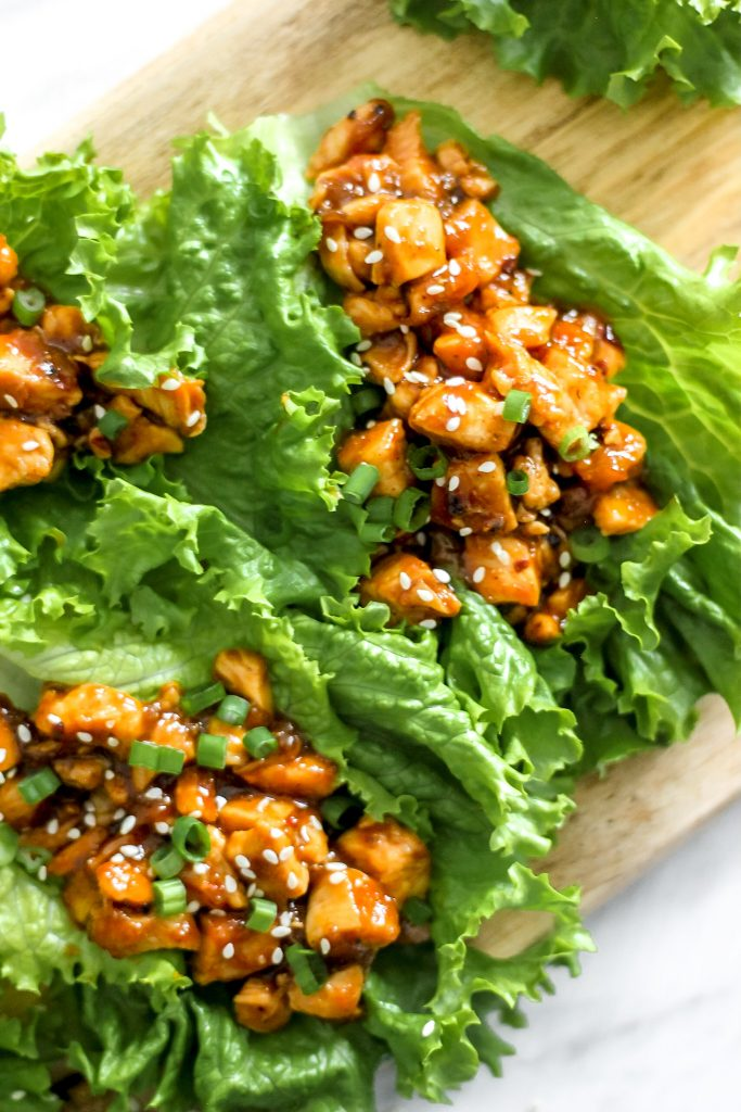 Chicken Lettuce Wraps on Wooden Plank_Overhead View