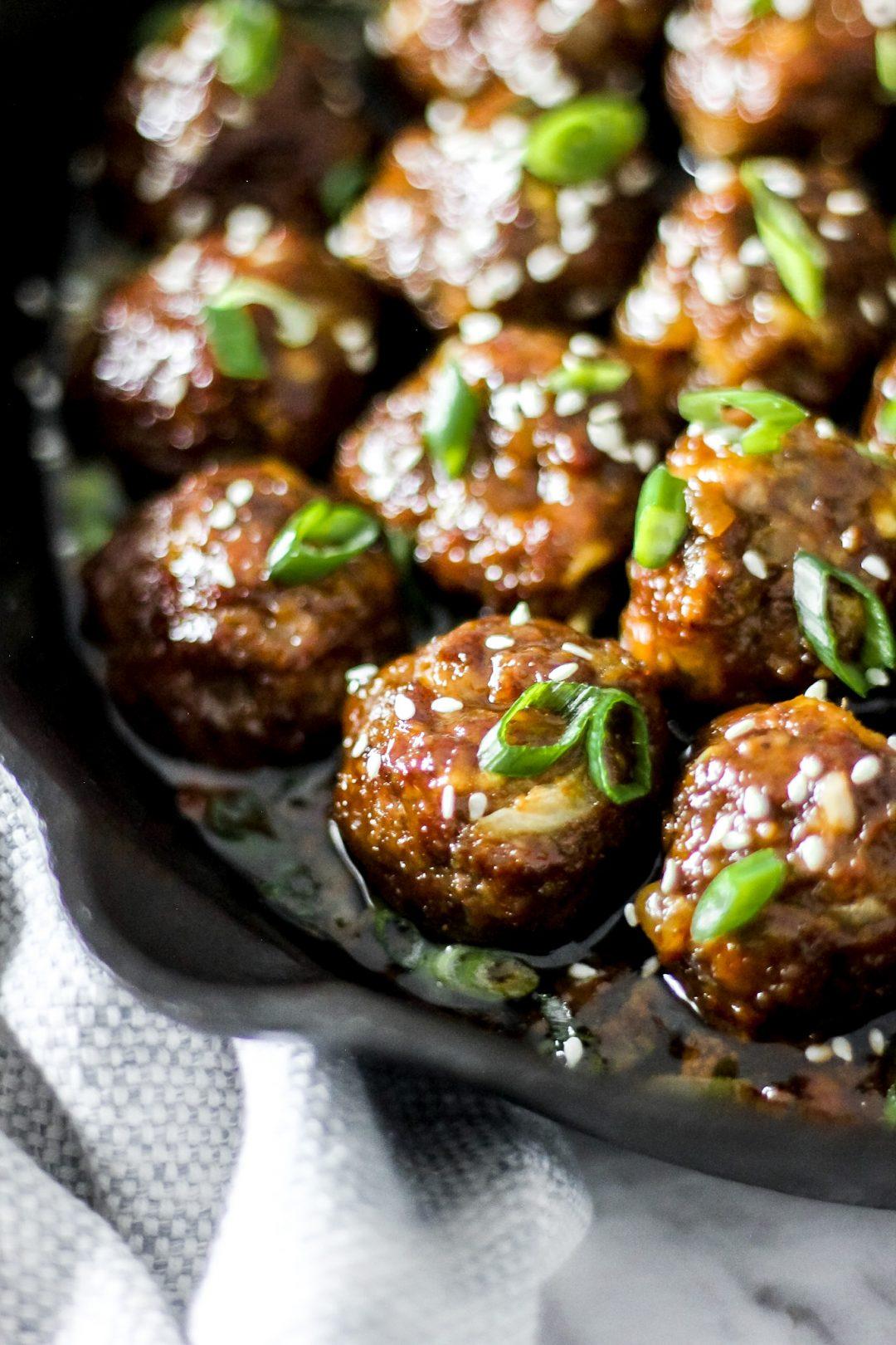 Skillet Baked Hoisin Ginger (Mongolian) Meatballs_Featured Image