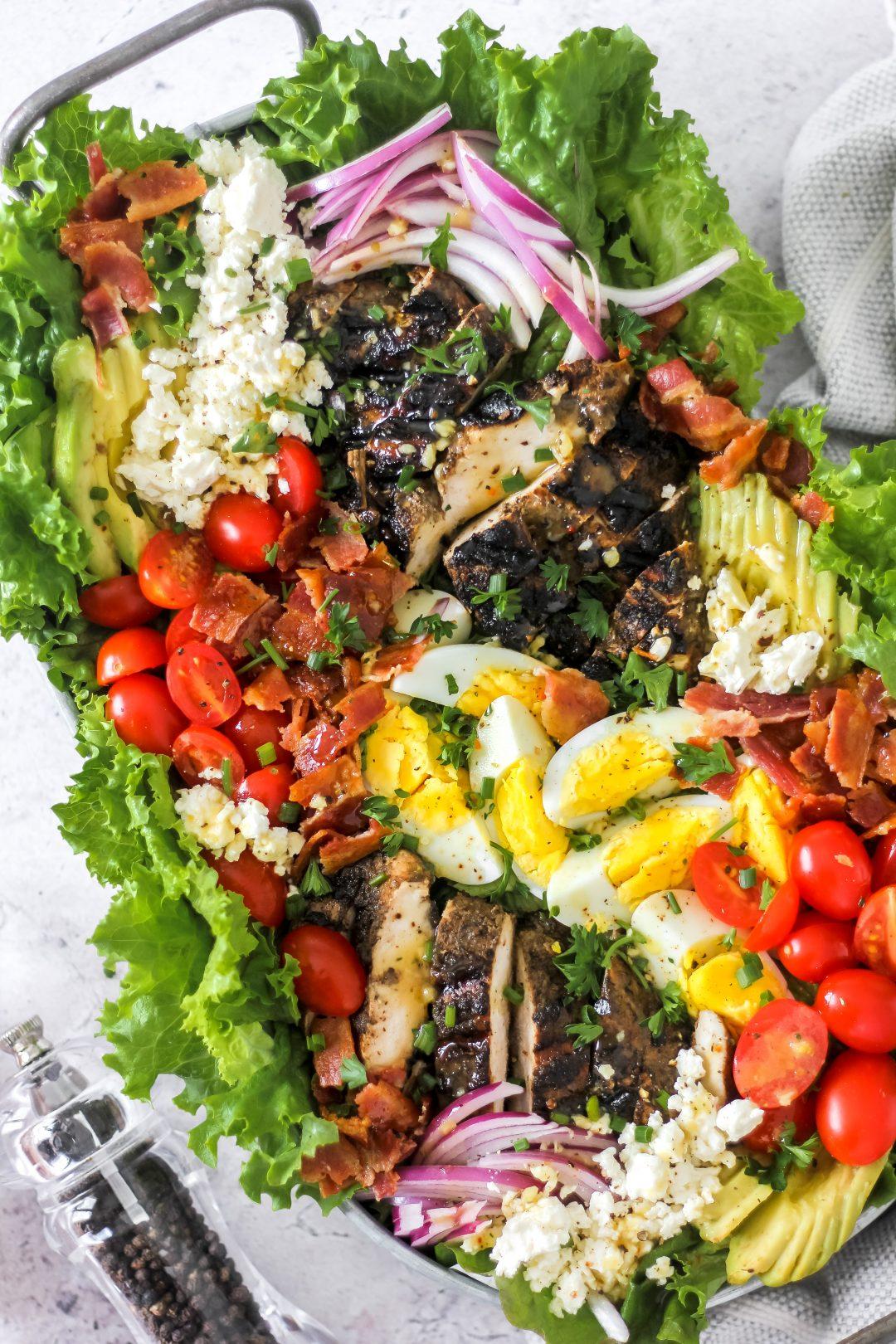 Jerk Chicken Cobb Salad_Featured Image with Honey Mustard Dressing