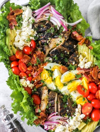 Jerk Chicken Cobb Salad_Featured Image with Honey Mustard Dressing