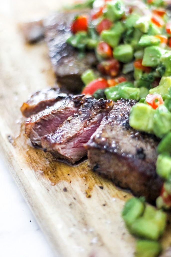 Sliced Steak with Chunky Tomato Avocado Salsa