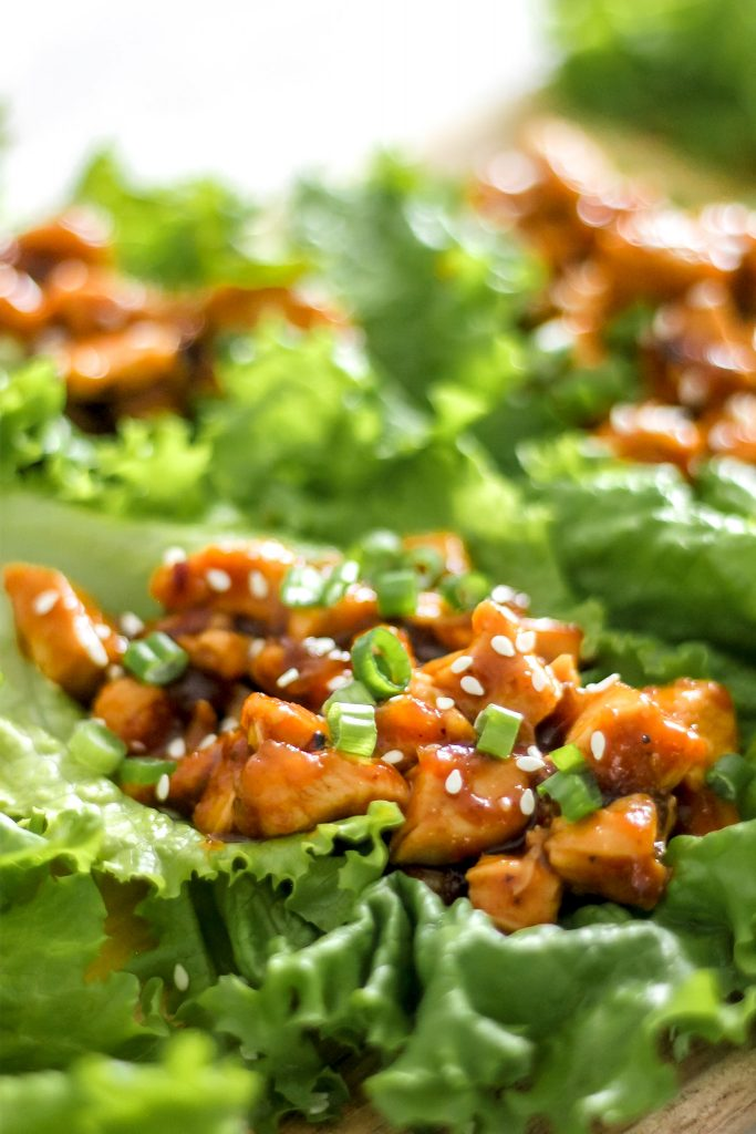 Asian Chicken Lettuce Wraps on Wooden Plank_Featured Image