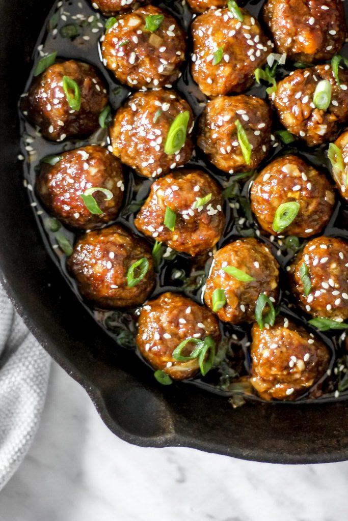 Skillet Baked Hoisin Ginger (Mongolian) Meatballs_in Skillet