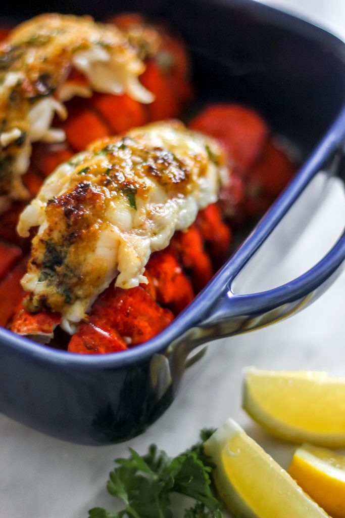White Wine Garlic Butter Lobster Tails with Fresh Lemon & Parsley