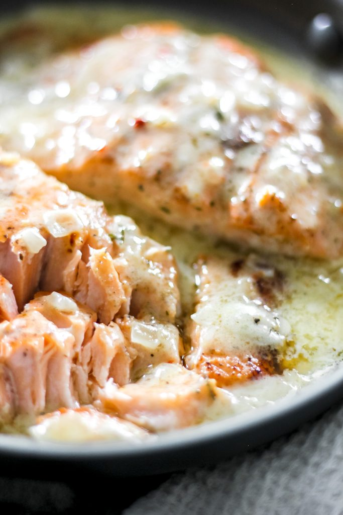 Flaky Salmon in Creamy Lemon Butter Sauce