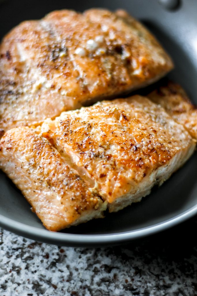 Cooked Salmon Fillet in Skillet