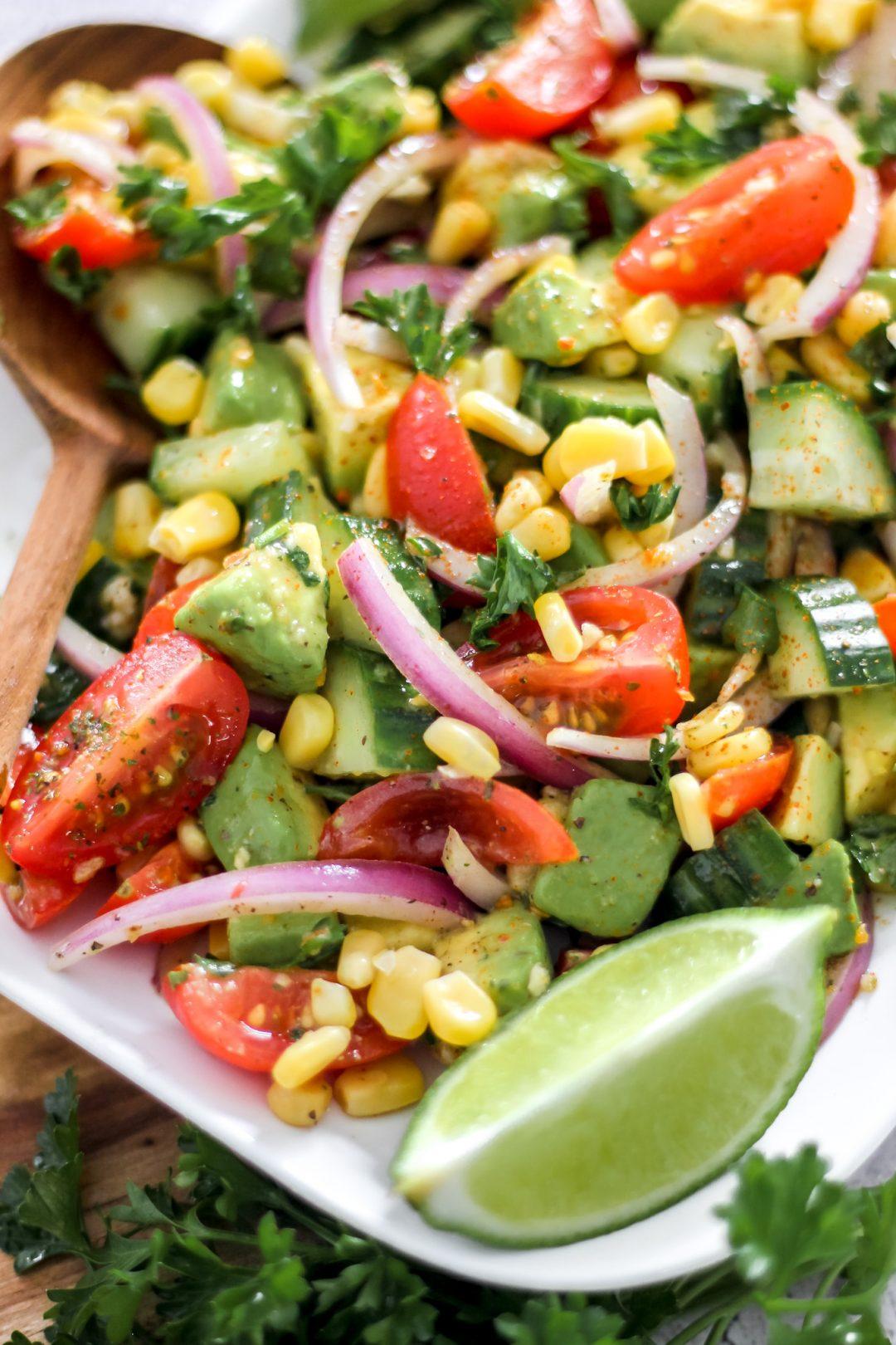 Tomato Avocado Cucumber Salad_Featured Image