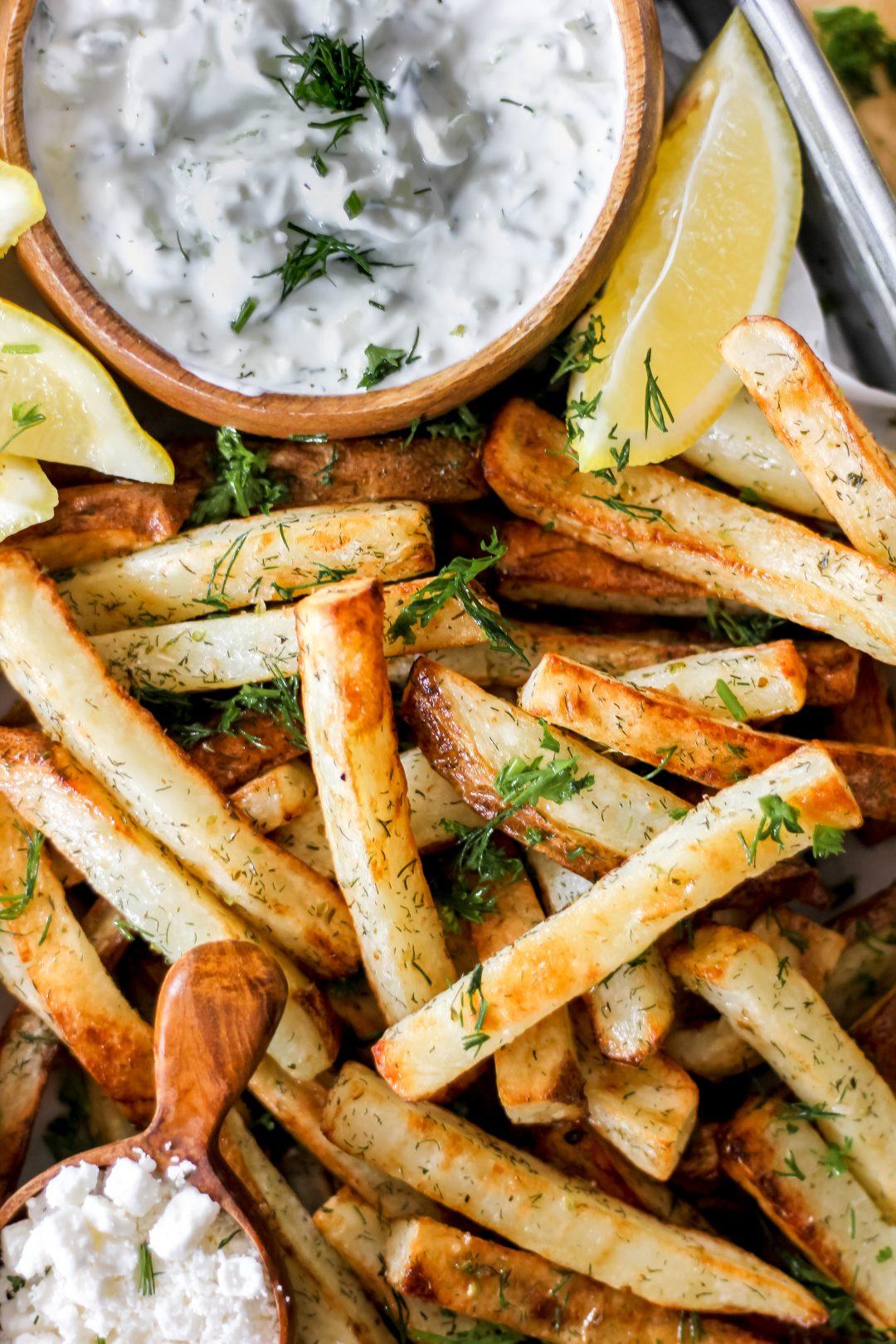 Air-Fryer Greek Fries with Tzatziki in Tray