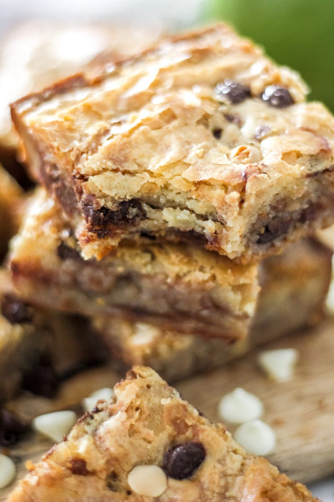 Easy White Chocolate Swirl Brownies Stacked
