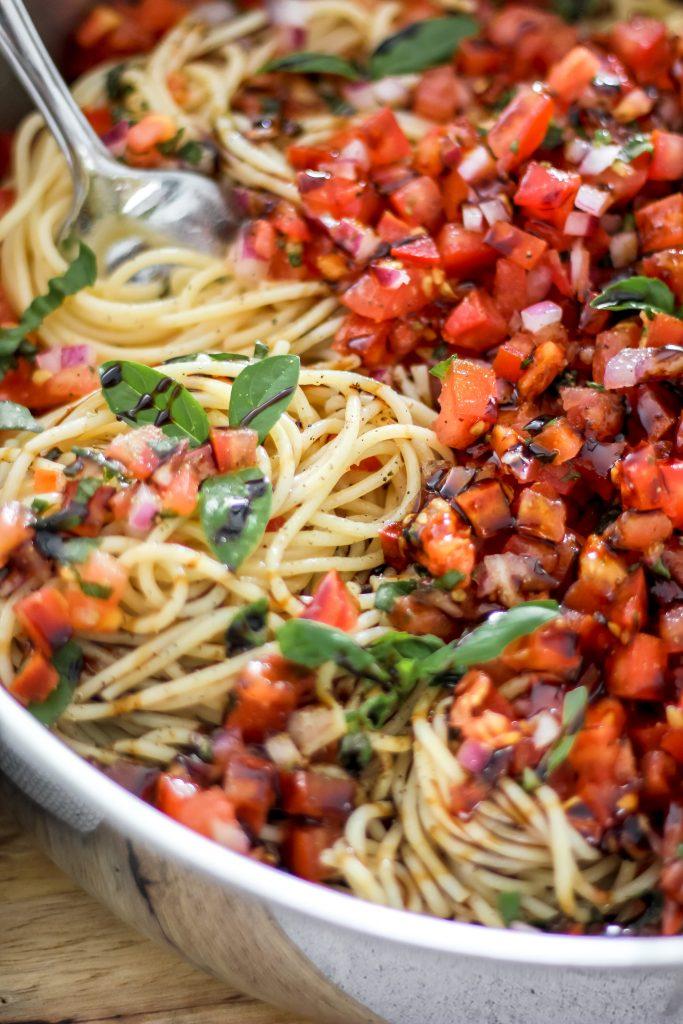 Bruschetta Pasta with Balsamic Drizzle