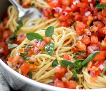 Bruschetta Pasta with Balsamic Drizzle in Large Skillet