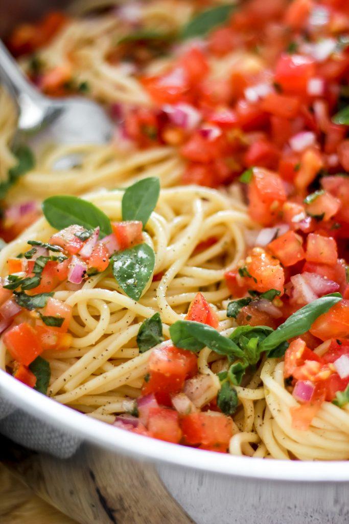 Bruschetta Pasta with Large Fork in Skillet